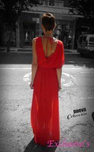 vestido largo rojo elegante